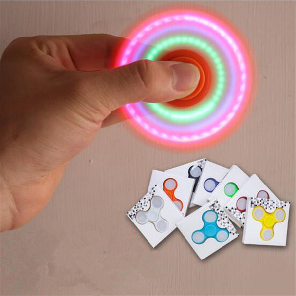 LED Light Up Hand Spinners Switch Fidget Spinner Glow Top Quality Triangle Finger Spinning Top Colorful Decompression Fingers Tip Tops Toys