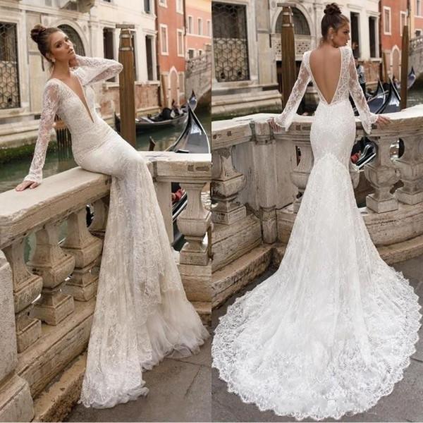 Berta 2019 Designer Full Lace Wedding Dresses Sheer Long Sleeve Plunging V Neck Sexy Summer Beach Backless Mermaid Bridal Gowns Vintage