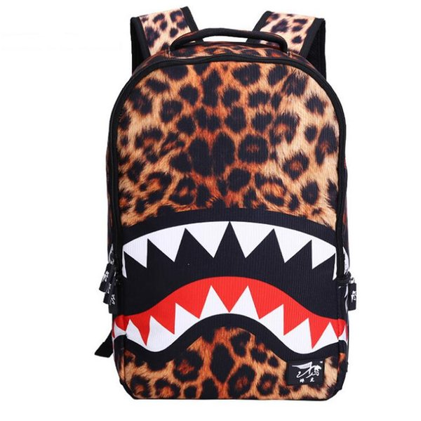Men's and Women's Backpacks 19ss New Middle School Students School Bag Cool Shark Boy's and Girl's Backpack