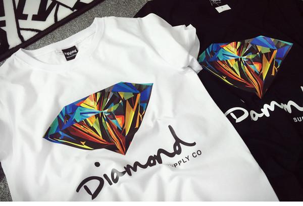 New arrival quality brand shirt 3D Diamond men short sleeve t shirt skateboard fashion brand clothing hip hop tshirts for men