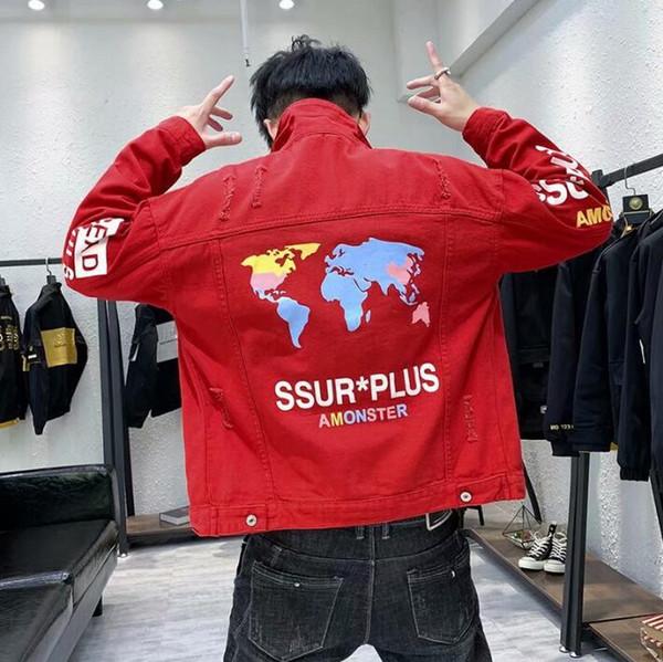 Мужская джинсовая куртка модная повседневная мужская одежда джинсовая куртка топы с принтом отворотом мужские ковбойские пальто chaqueta hombre верхняя одежда