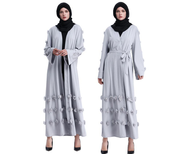 Middle Eastern Muslim Long-sleeved Dress Women Arabian Long Robe Dresses Floral Middle East Formal Dress