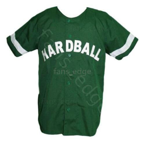 G-Baby Kekambas Hard Ball Movie Baseball Jersey Button Down Green Mens Stitched Jerseys Shirts Size S-XXXL Free Shipping 228