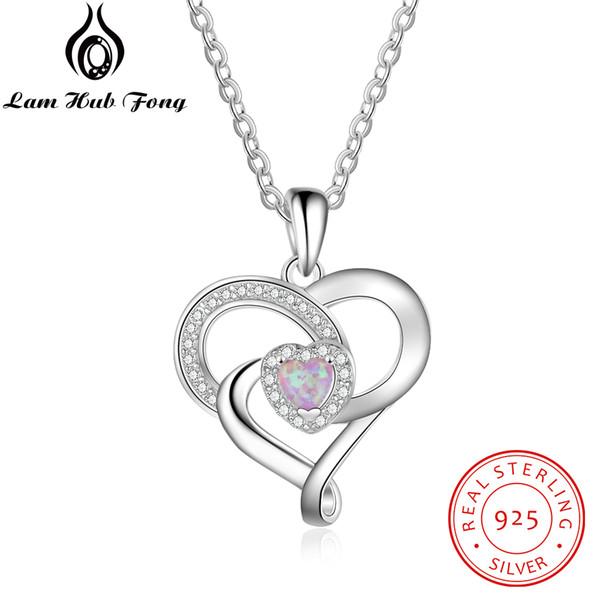 Romantik Kalp Pembe Opal Kolye Kolye Kadınlar için 925 Ayar Gümüş Kolye Takı Hediye Lover / Anne (Lam Hub Fong)