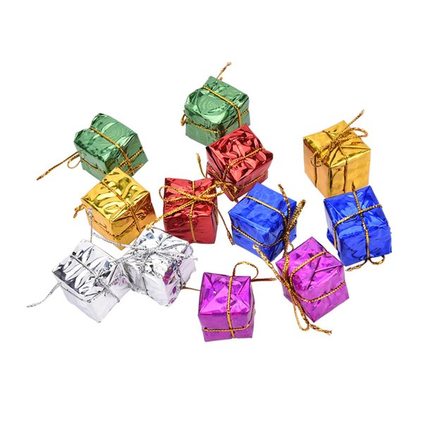 12pcs Mini Gift Boxes Shape Tree Ornament Party Christmas Hanging Pendants Decoration christmas decorations for home new year
