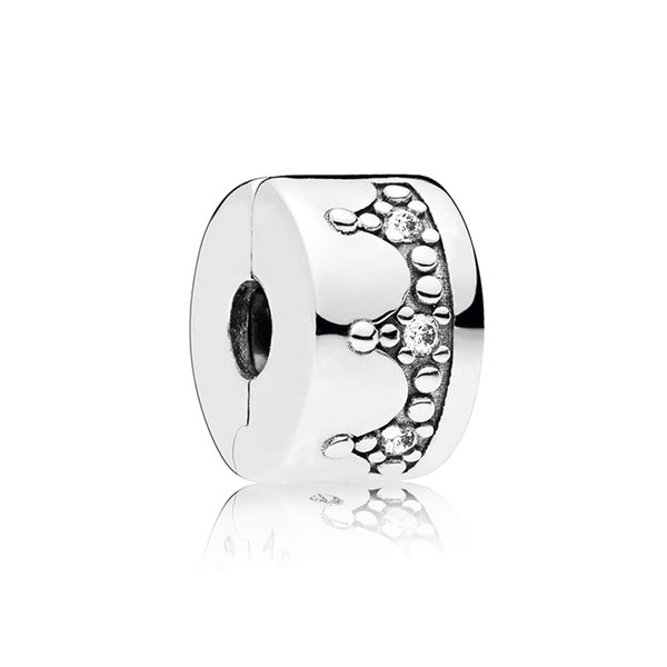 925 Sterling Silver Clips Charms Original Box for Pandora Dazzling Crown Clip Crystals Bracelet DIY Accessories