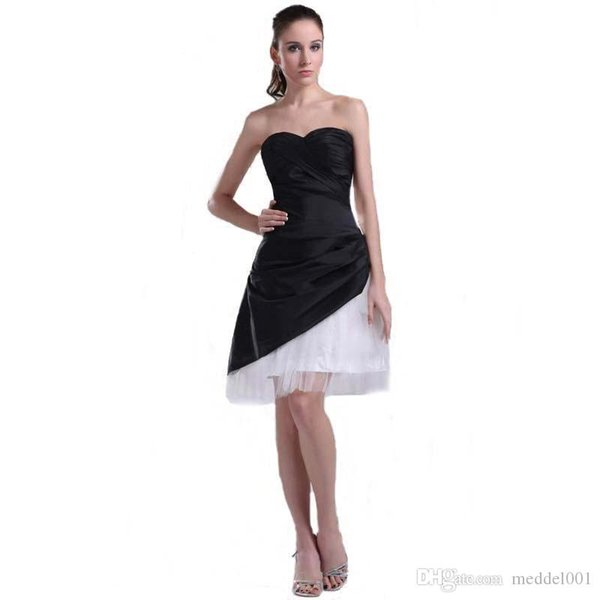 2018 Summer Collection Sweetheart Short Prom Party Dress Tulle A-Line Knee Length Ladies Black and White Cocktail Dress