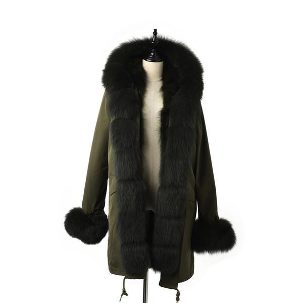TOPFUR 2019 Fashion ArmyGreen Parka Women Jackets Real Fur Coat Women Natural  Fur Parka With Hood Outwear Brown Parkas