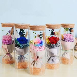 Forever Rose LED Glass Cover 5 Colors Floral Wishing Bottle Remote Control Lighting Valentine's Day Decoration Novelty Items 50pcs OOA6126