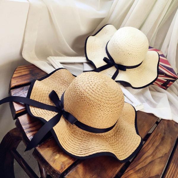 Women Straw Weave Beach Hat Causal Ribbon Bowknot Floppy Sun Cap Outdoor Travel Wide Brim Bucket Hat LJJT611