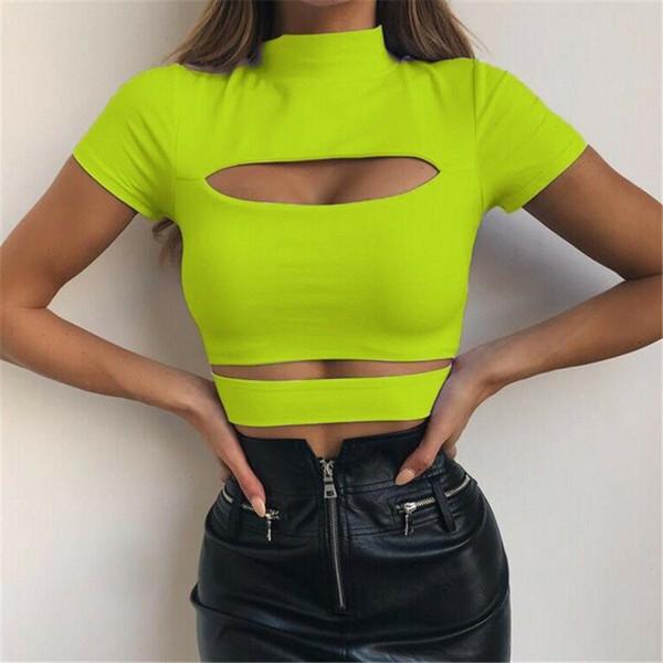 Verano Crop Top Mujeres Tank Top Color Sólido Hollow Out Ladies Tops Ropa para mujer Moda Tops Mujer Camiseta Casual Ladies Shirt