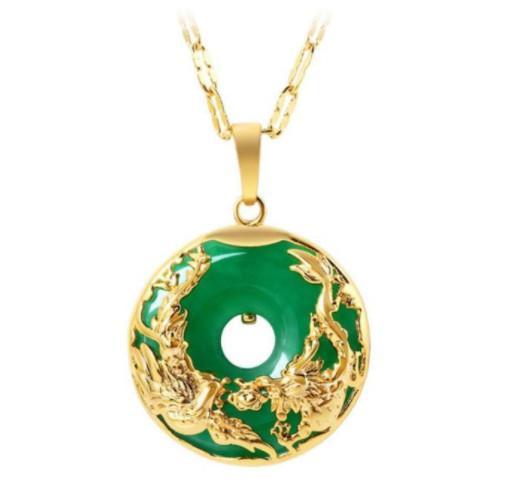 MGFam (173 P) Dragão e Fênix Pingente de Colar Para As Mulheres Verde Jade Da Malásia China Antigo Mascote 24 k Banhado A Ouro com 45 cm cadeia