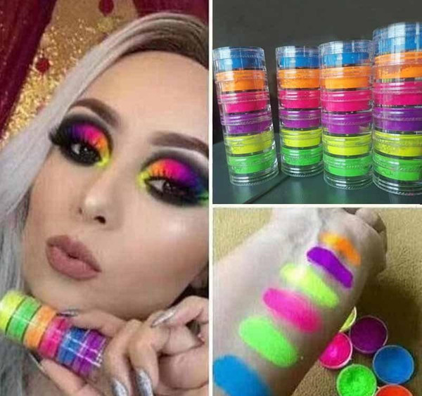 top popular 6pcs set Eyeshadow Powder Makeup 6colors Neon Eye Shadow Set Beauty Eyes Cosmetics New Hot Powder Eyes Makeup 6pcs Kit DIY Nail Art Powder 2020