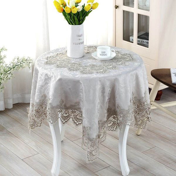 Gray European embroidery table cloth mat tablecloth lace tablecloth table dinner runner square round Garden wholesale FG605