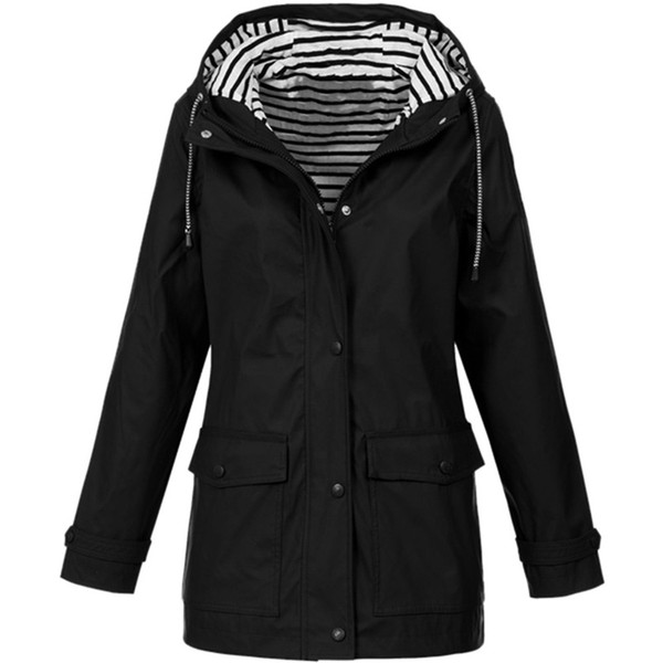 Rain Coat Women Plus Size Coat 2018 Long Sleeve Waterproof Jacket Hooded Raincoat Jacket Women Clothes Warm Girl #O11