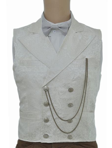 Vintage Steampunk Gilet uomo bianco doppio petto Pocket Watch catena Back Strap Retro Suit Vest Halloween