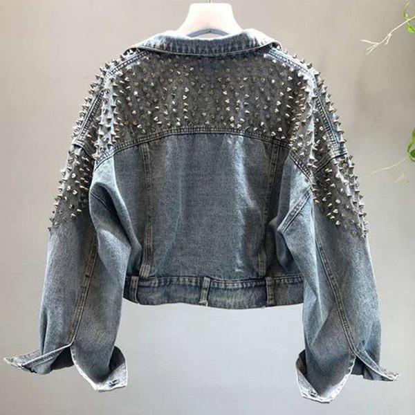 YingYuanFang Мода новая летучая мышь рукав тяжелой работы заклепки с короткой стиркой джинсовая куртка женская куртка Y190905