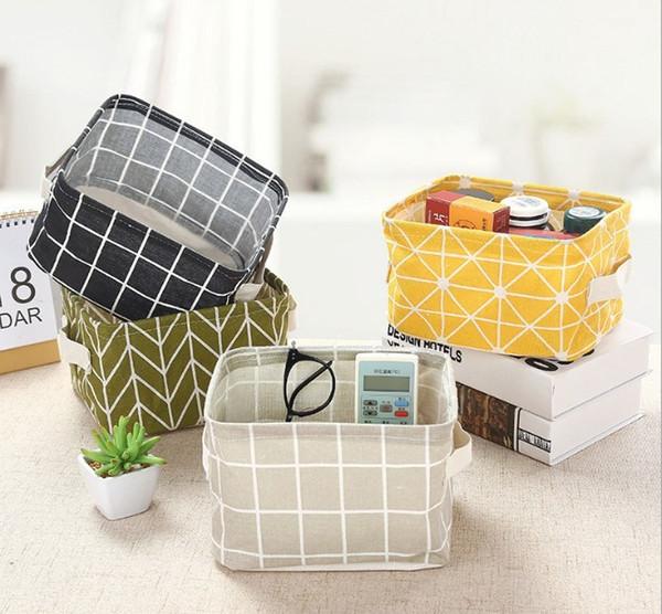 Storage box Printing Cotton Linen Desktop Storage Organizer Sundries Box Cabinet Underwear Basket Fast Shipping