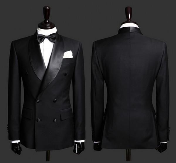 Custom Made Mens Ternos Preto Noivo Smoking Xaile Lapela Slim Fit Noivo Traje Formal Melhor Terno Dos Homens Para Casamentos (Jacket + Calças)