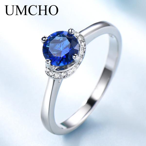 UMCHO Blue Sapphire Gemstone Кольца для Женщин Подлинная Стерлингового Серебра 925 Ореол Обещание Кольцо Обручальное Свадьба Подарок Ювелирных Изделий