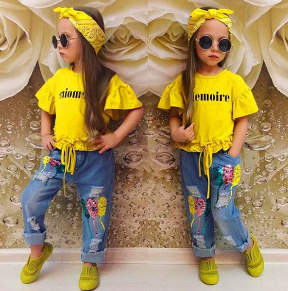 INS Girls letter printed round collar flare sleeve T-shirt+sequins balloon embroidery hole jeans 2pcs sets+Bows headbands 3pcs sets F5507