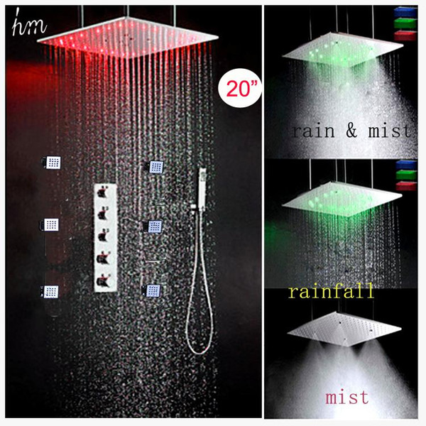 Luxury LED Bath Shower 304 SUS Mirror Panel 500X500 Ceiling Rain Mist Shower Head Hot Cold Faucet Mixer With Massage Body Jets 20180927#