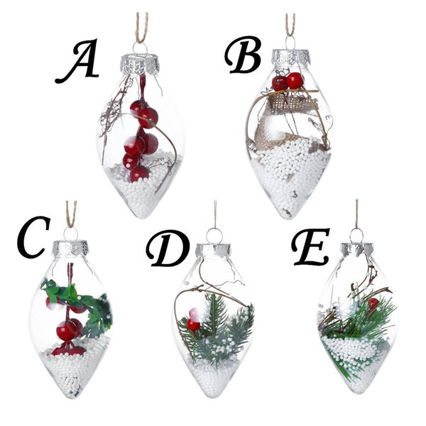 1pc Christmas Decoration for Home Xmas Tree Hanging Heart Ball Transparent Can Open Plastic Clear Bauble Drop Ornament DIY Gift