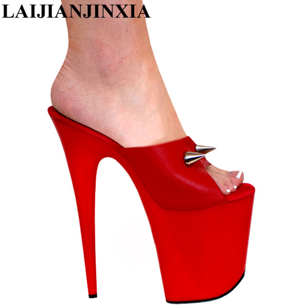 LAIJIANJINXIA New 20cm high-heeled shoes slippers magazine shoes sexy clubbing high heels pole dancing 8 inch Super High Pumps