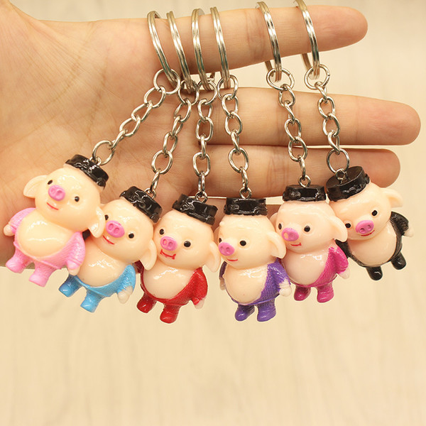 Resin stereo color hand-painted cute piggy Westworld characters pig Ba jing creative key buckle pendant wholesale
