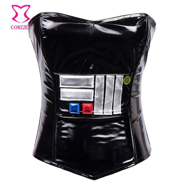 Cuir noir PVC Corset Zipper Bustier Sexy Gothique Vêtements Femmes Corselet Overbust Espartilhos E Corpetes Corsets Para