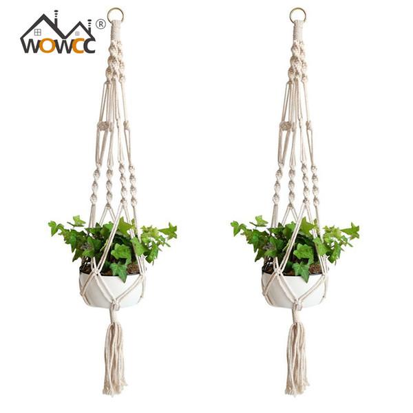 90cm Knotted Macrame Plant Hanger Vintage Cotton Linen Flowerpot Basket Lifting Rope Hanging Basket Pot Holder Garden Tools D19011702