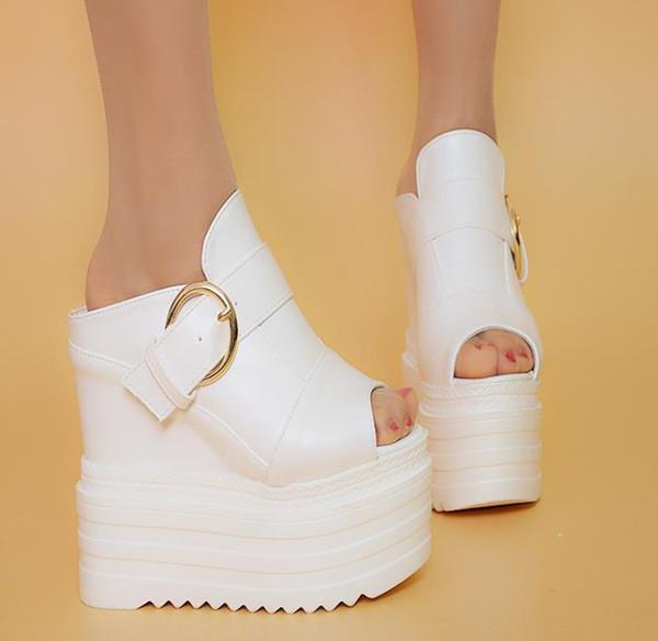 Estate Moda Donna pantofole da donna Zeppe Platform Tacco alto 14cm Ladies Casual Pantofole comode taglia 34-38