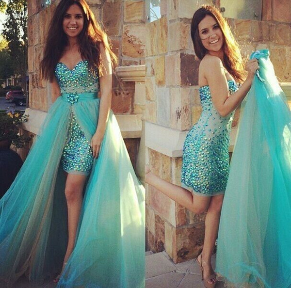 Turquoise Detachable Train Tulle Bling Pageant Dresses Prom 2019 Colorful Crystal Sequins Beaded Strapless Corset Back Party Dress Evening