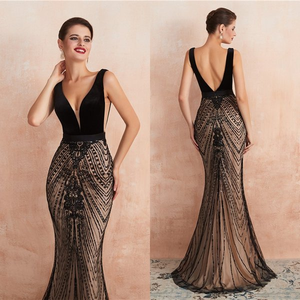 Cut Away Sides Sleeveless Black Major Beading Evening Dresses 2020 Deep V Neck Mermaid Long Backless Prom Pageant Gowns CPS1445