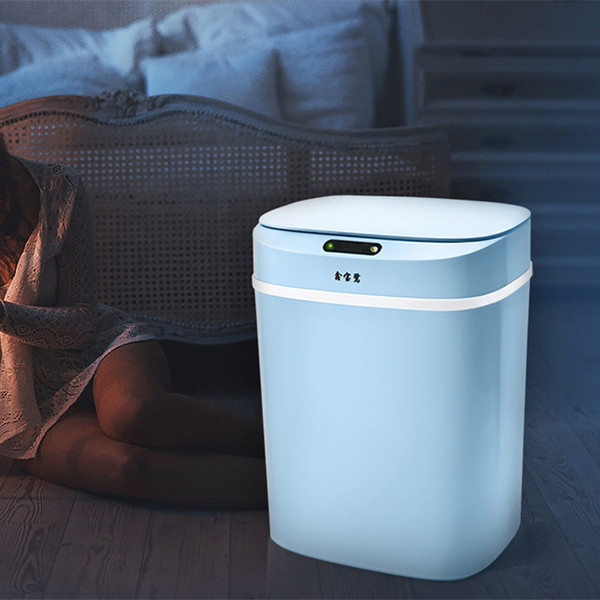 12L Automatic Trash Can Touchless Intelligent Induction Garbage Bin With Inner Bucket Contactless Circulator Quiet Lid Close Can Blue