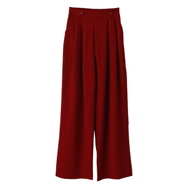 Net Red Temperamento Primavera Verano Nuevas mujeres Traje trapeador de cintura alta Pantalones anchos de la pierna Moda caliente Jooyoo