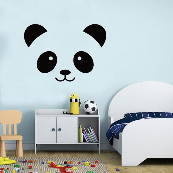 Acheter Panda Face Vinyle Art Autocollant Autocollant Dessin Animé Tête Danimal Sticker Mural Pour Chambre De Bébé Et Décor De Pépinière Panda Decal