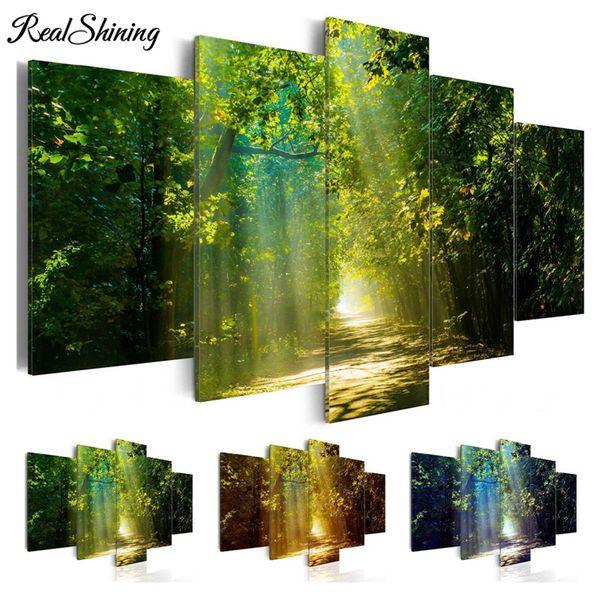 Cuadrado completo / taladro redondo 5D DIY pintura diamante 5pc Natural Green Forest Pictures mosaico bordado de diamantes Wall Arts FS4159