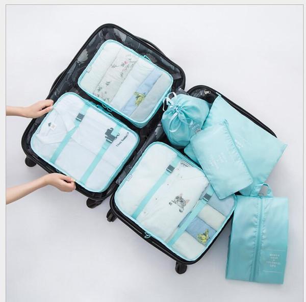 Set da viaggio organizer set impermeabile in poliestere con cerniera Mesh storage bag Set per vestiti Pouch Luggage Container Underwear Shoe Organizer 7pcs / set