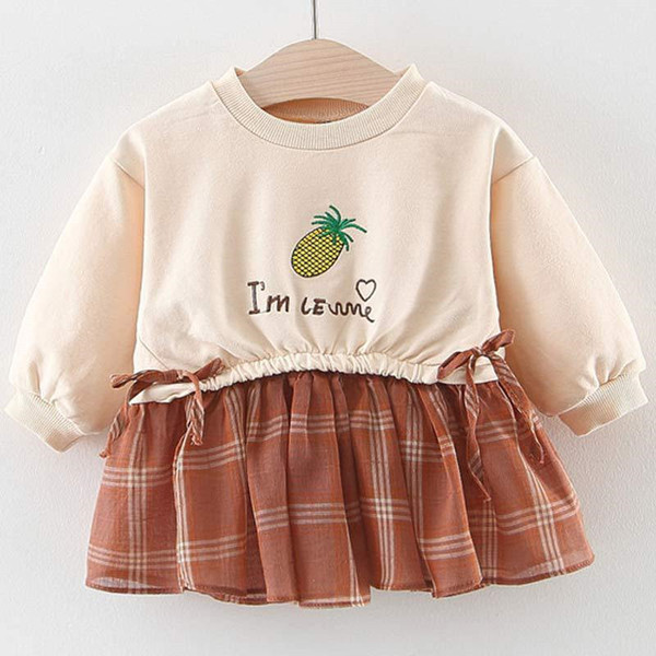 Vestidos de outono meninas Pure abacaxi carta tops saias xadrez Falso duas peças vestidos de outono