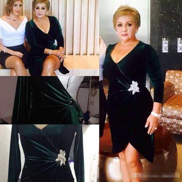 2019 neue Mutter der Braut Kleider langarm mit V-Ausschnitt Samt Elegante Hochzeit Party Kleider für Frauen Abendkleider