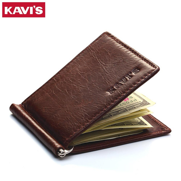 Men Women Genuine Leather Bifold Male Purse Billfold Wallet Money Clip Female Clamp for Money Case