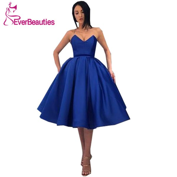 Royal Blue Short Dress 2019 Décolleté plongeant Robe De Bal Robe De Gala Dress for Prom