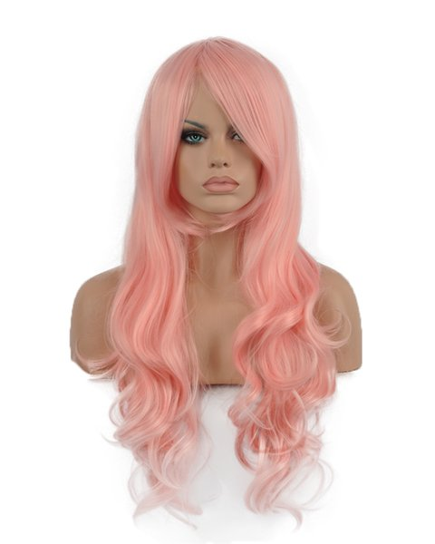 Hot Natural Women Long Pink Oblique Bangs Wavy Curly Kanekalon Heat Resistant Cosplay Party Hair Full Wig Wigs