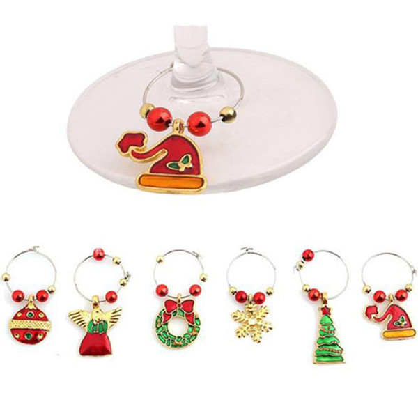New 6pcs/set Zinc Alloy Christmas Wine Glass Ring Party New Year Cup Ring Table Decorations Xmas Pendants Metal Ring Wine Glass Hanging