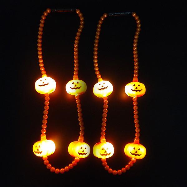 최고의 판매 led 할로윈 빛나는 목걸이 호박 문자열 조명 할로윈 빛나는 목걸이
