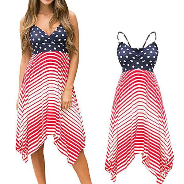 Lady Beach Maxi Dress Dot Striped Printed Sling Long Skirt Irregular Dress American Flag Independence Day Patchwork Plus Sundress