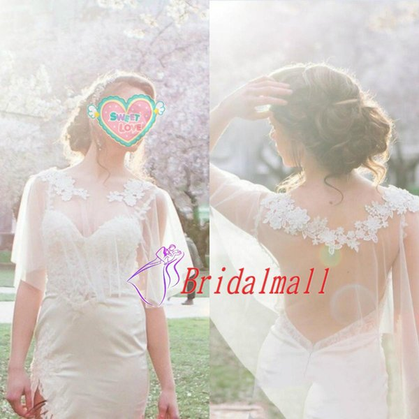 White Ivory Appliques Lace Bolero Wedding Wraps See Through Wedding Lace Cape Bridal Lace Cover Up Tulle Brides Jackets Bridal Accessories