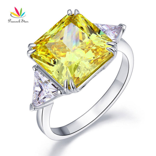 Peacock Star Solid 925 Sterling Silver Three-stone Luxury Ring 8 Carat Yellow Canary Created Diamante Cfr8157 J190627