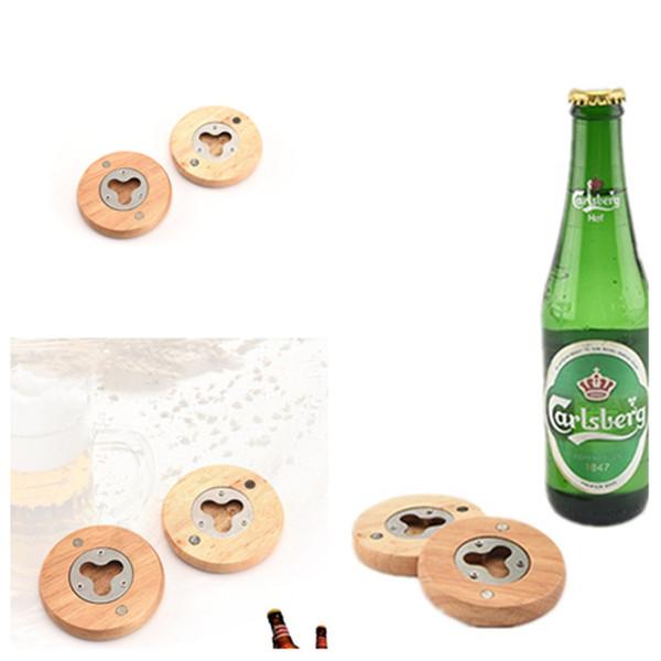 nouveau Blank bricolage bière en bois Bouteille forme Opener rondes en acier inoxydable décapsuleurs Coaste Décor homeware T2I5485